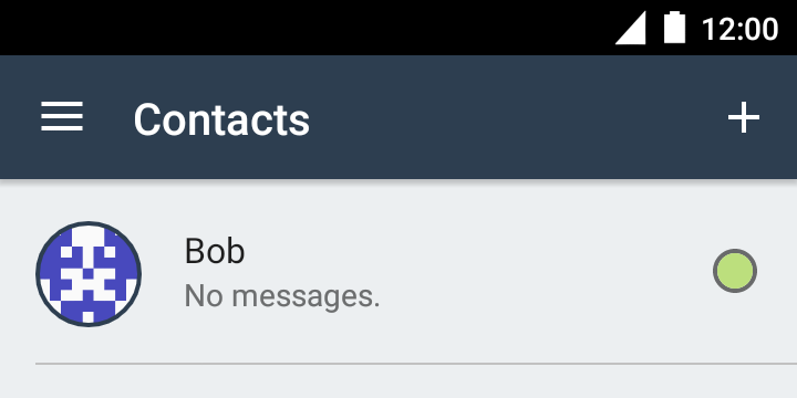 The contact list showing a newly added contact
