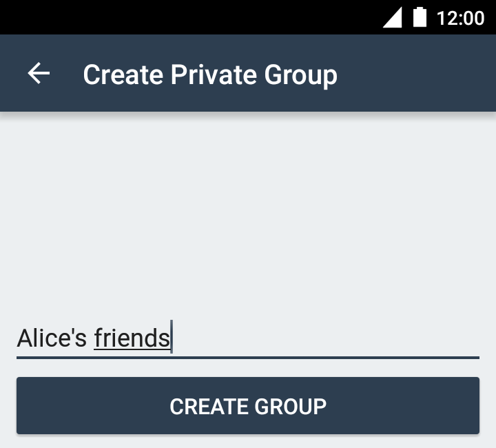 Creating a private group, step 1