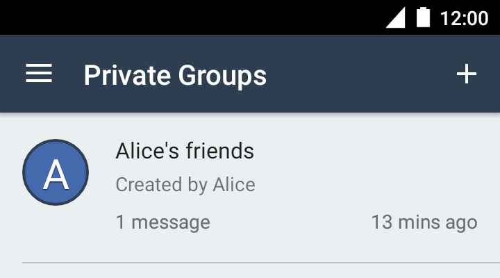 The private group list showing a newly created group