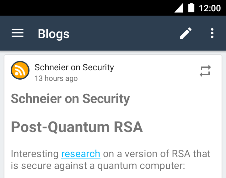 The blog feed showing a newly imported RSS article