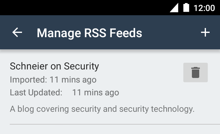 Managing RSS feeds, step 2