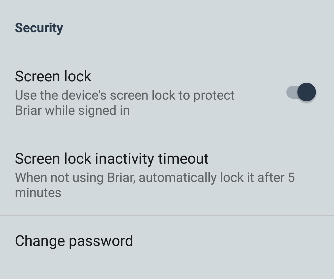 The 'Security' section of the settings screen