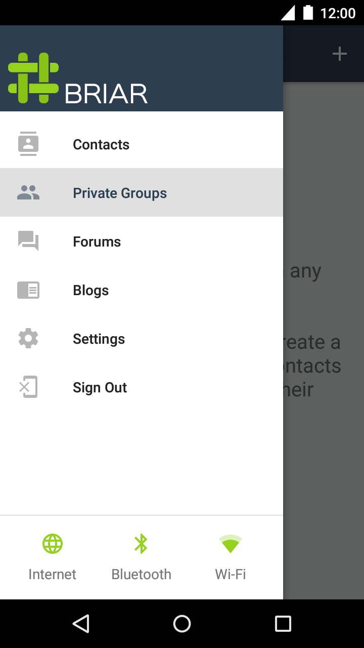 The main menu showing the private groups feature selected