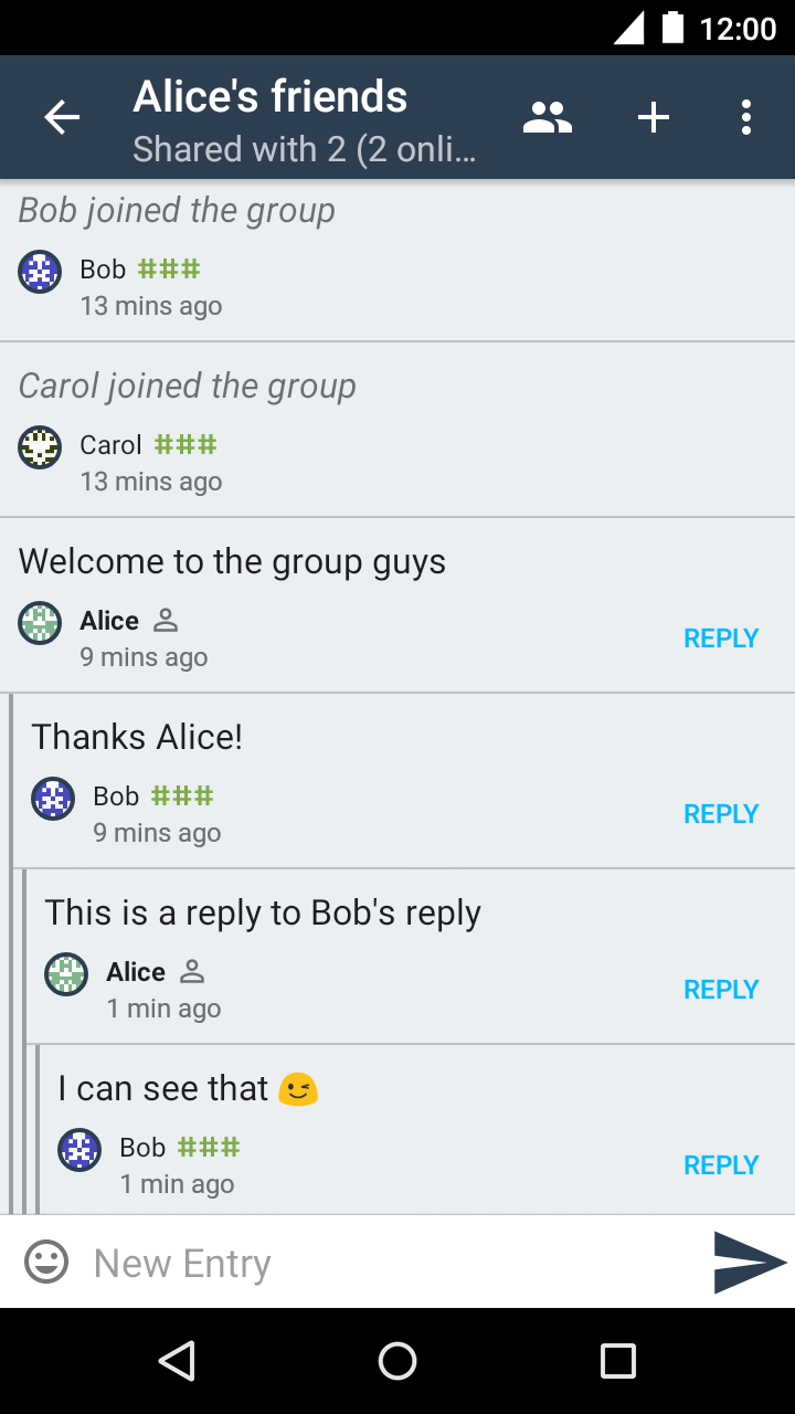A conversation in a private group