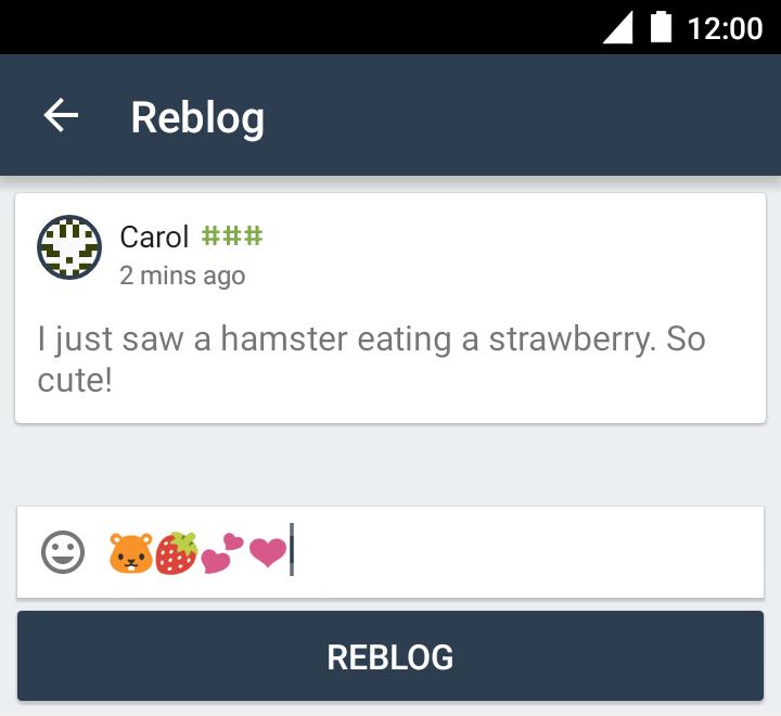 Reblogging a post, step 2